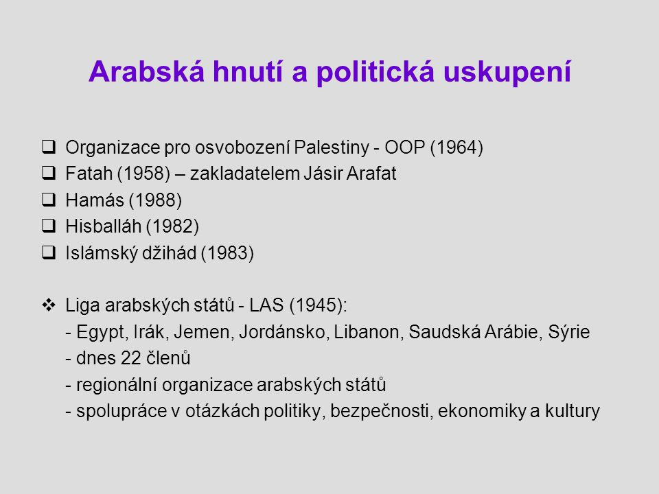 Arabská hnutí a politická uskupení