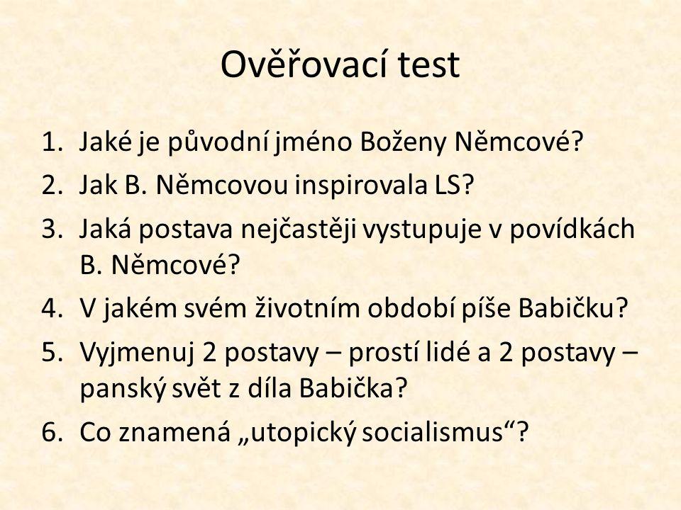 Ověřovací test Jaké je původní jméno Boženy Němcové