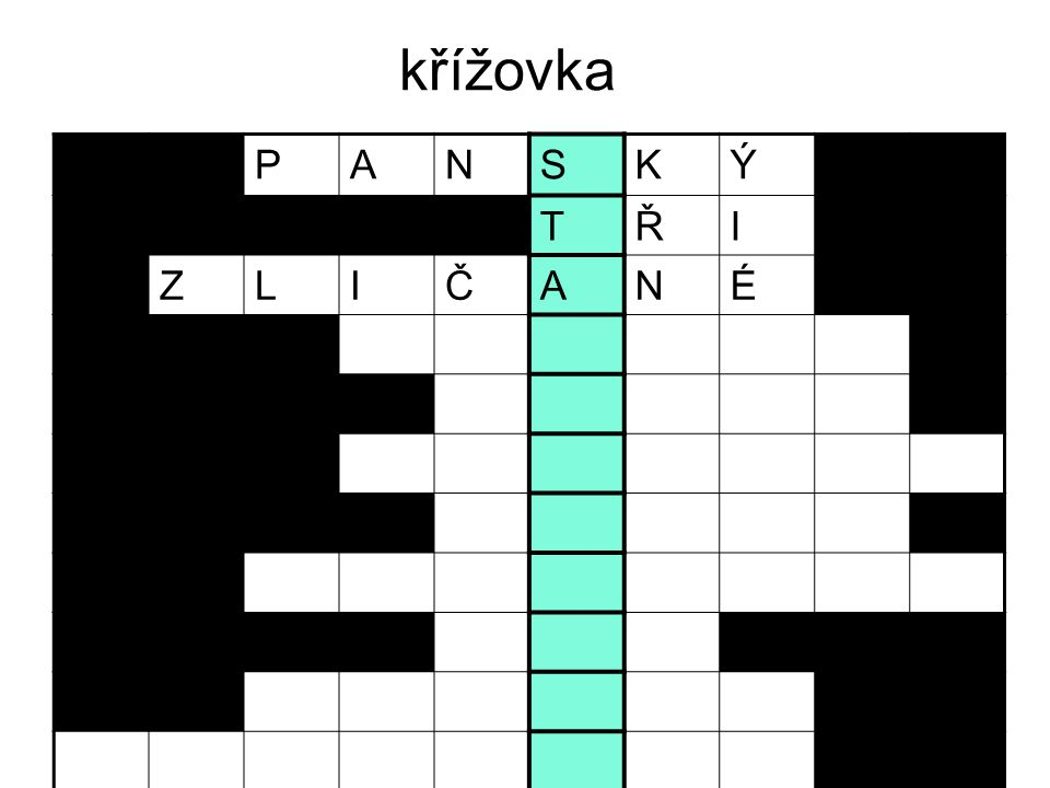 křížovka P A N S K Ý T Ř I Z L Č É