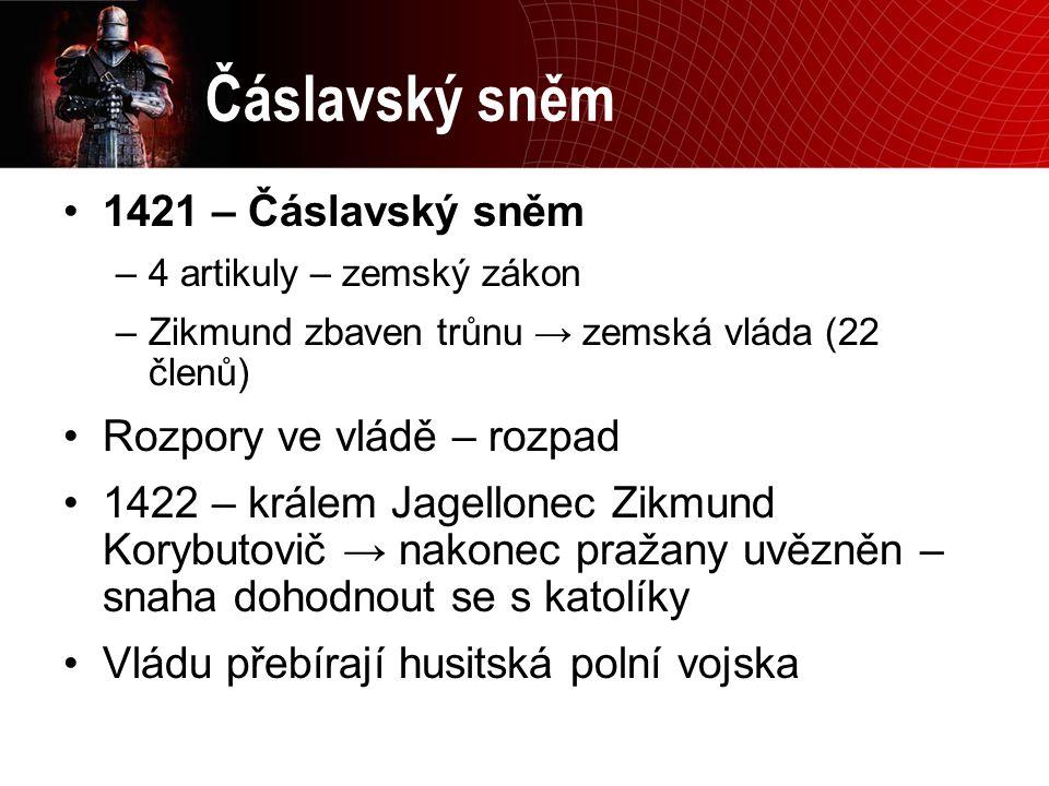 Čáslavský sněm 1421 – Čáslavský sněm Rozpory ve vládě – rozpad