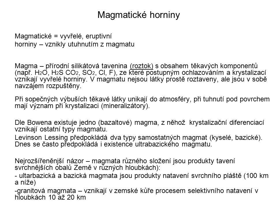 Magmatické horniny Magmatické = vyvřelé, eruptivní