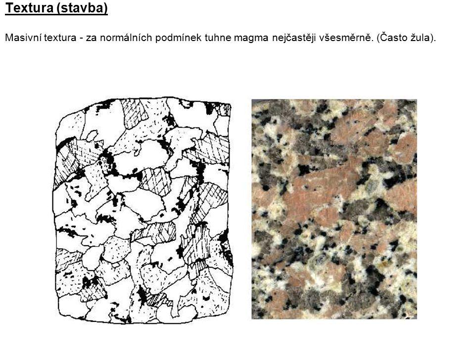 Textura (stavba) Masivní textura - za normálních podmínek tuhne magma nejčastěji všesměrně.