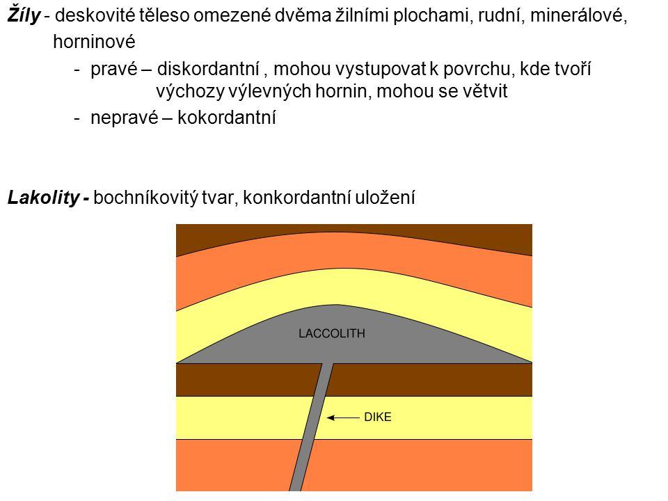 Žíly - deskovité těleso omezené dvěma žilními plochami, rudní, minerálové,
