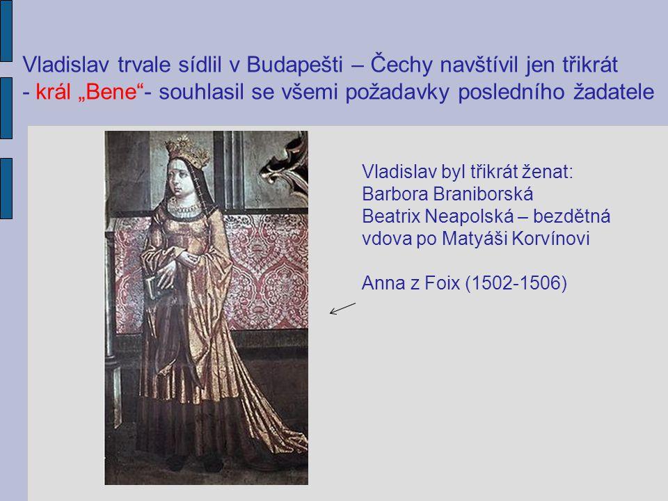 Vladislav trvale sídlil v Budapešti – Čechy navštívil jen třikrát