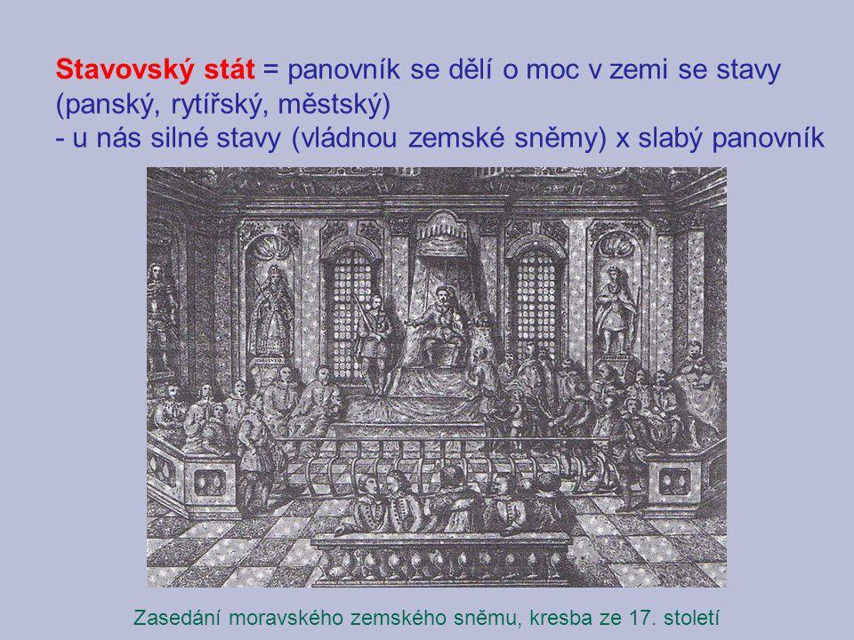Zasedání moravského zemského sněmu, kresba ze 17. století