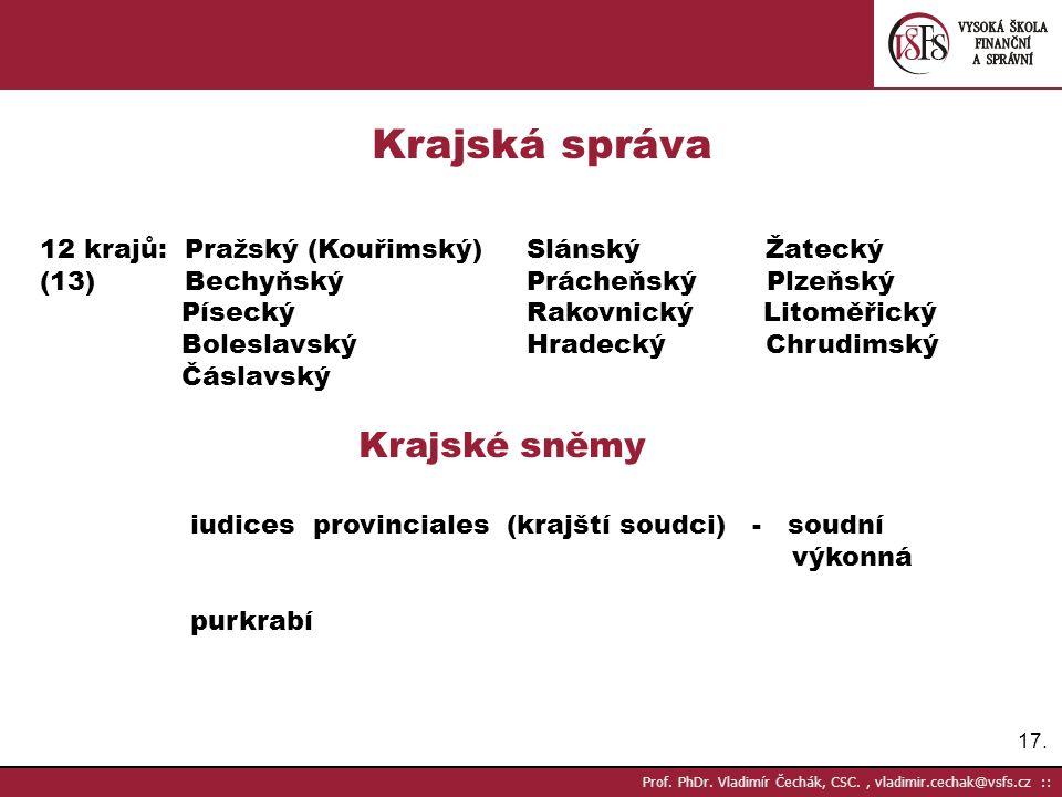 Krajská správa 12 krajů: Pražský (Kouřimský) Slánský Žatecký