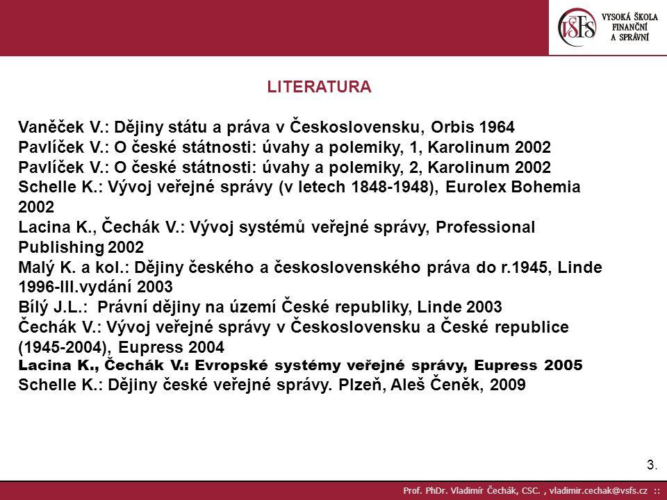 Vaněček V.: Dějiny státu a práva v Československu, Orbis 1964