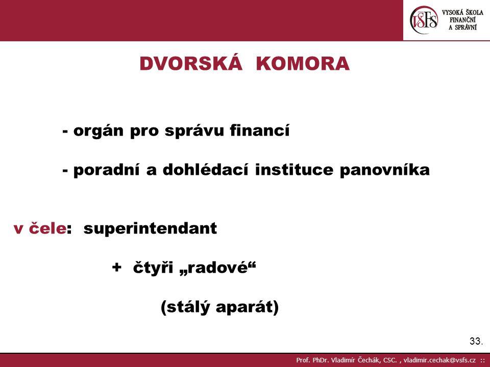 DVORSKÁ KOMORA - poradní a dohlédací instituce panovníka