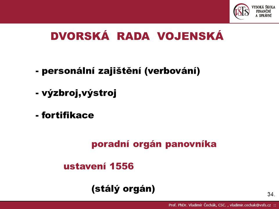 DVORSKÁ RADA VOJENSKÁ - personální zajištění (verbování)