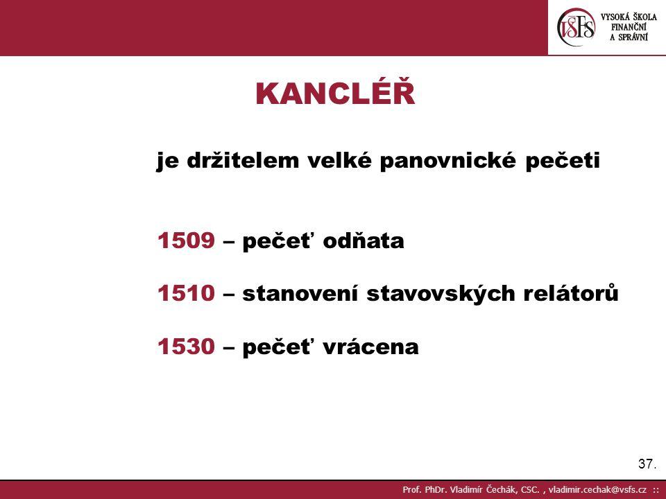 KANCLÉŘ 1509 – pečeť odňata 1510 – stanovení stavovských relátorů