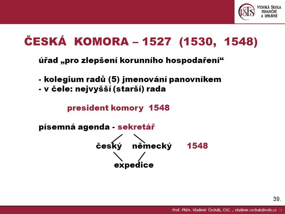 """ČESKÁ KOMORA – 1527 (1530, 1548) úřad """"pro zlepšení korunního hospodaření - kolegium radů (5) jmenování panovníkem."""