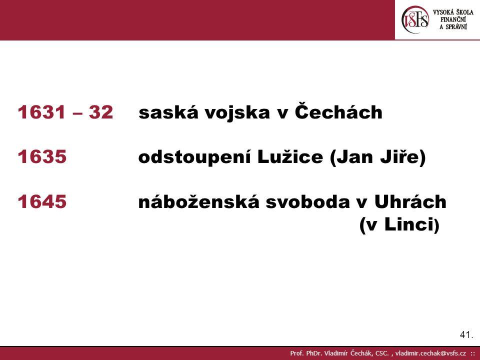 1631 – 32 saská vojska v Čechách 1635 odstoupení Lužice (Jan Jiře)