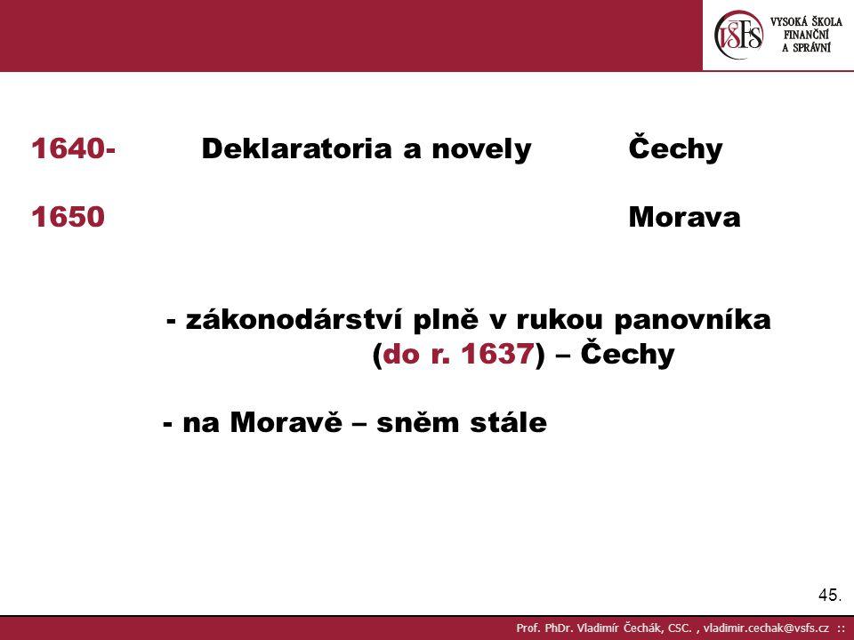 - Deklaratoria a novely Čechy Morava