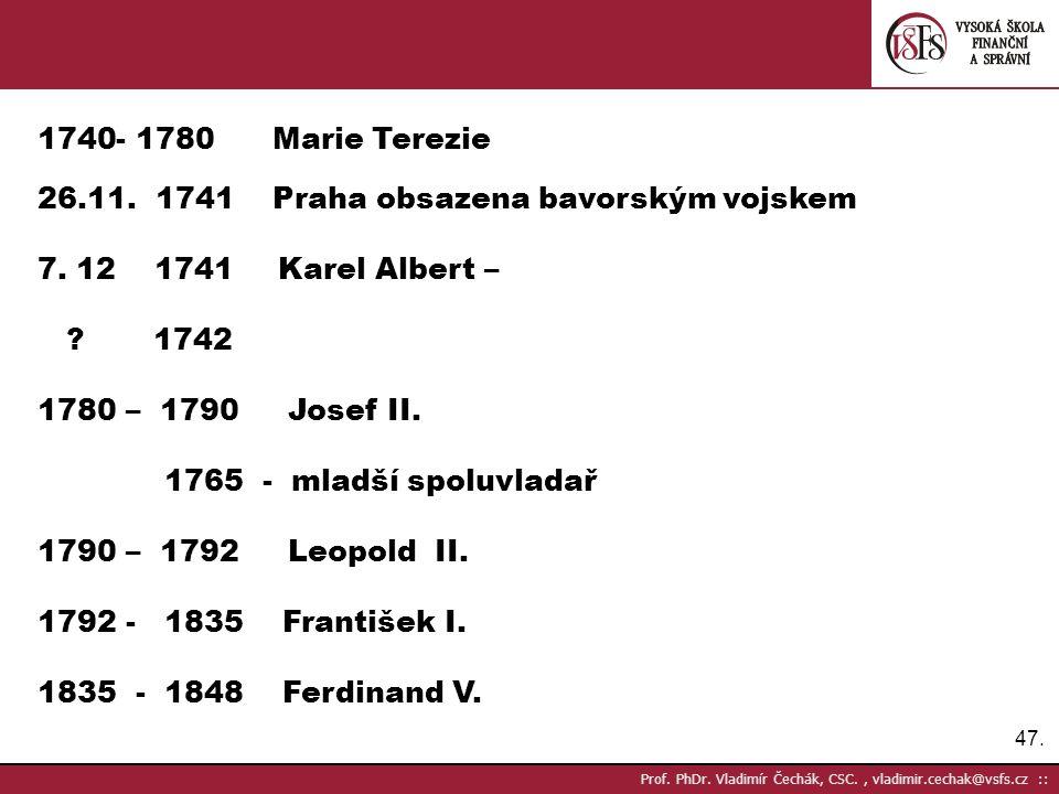 26.11. 1741 Praha obsazena bavorským vojskem 7. 12 1741 Karel Albert –
