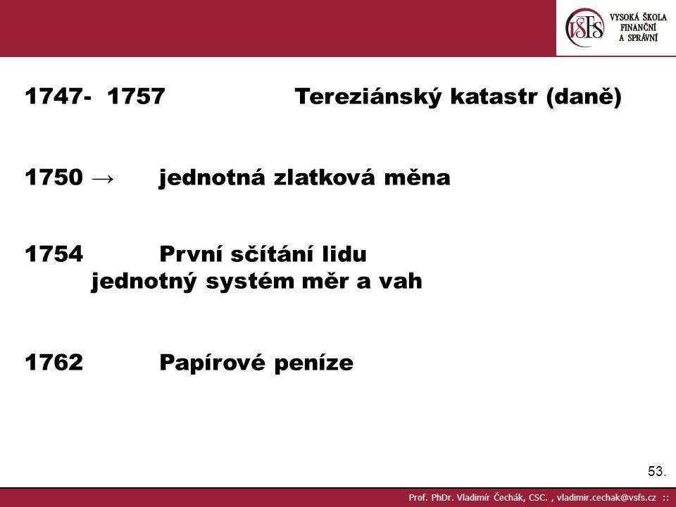 - 1757 Tereziánský katastr (daně)