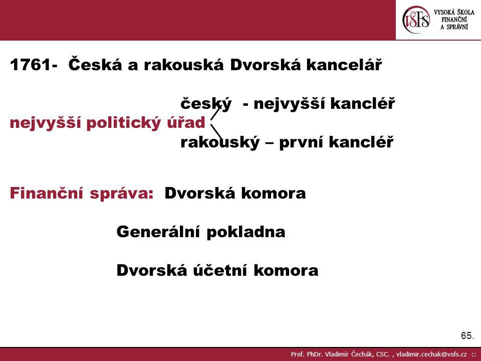 - Česká a rakouská Dvorská kancelář český - nejvyšší kancléř