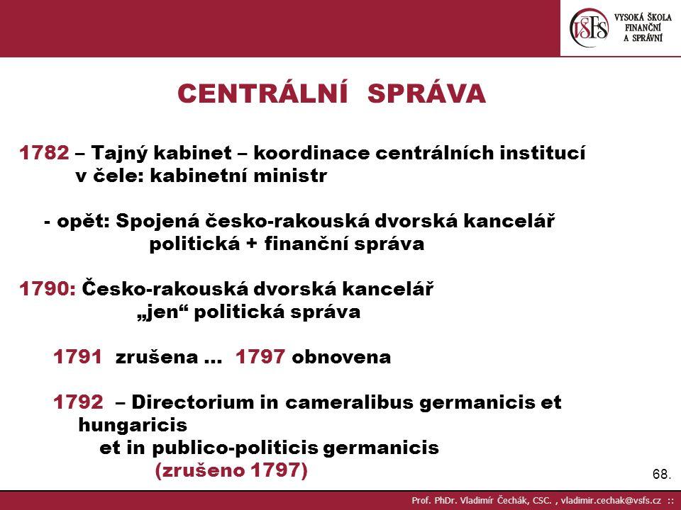 CENTRÁLNÍ SPRÁVA 1782 – Tajný kabinet – koordinace centrálních institucí. v čele: kabinetní ministr.