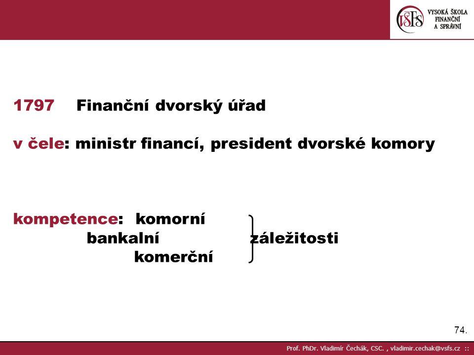 v čele: ministr financí, president dvorské komory