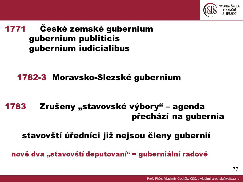 1771 České zemské gubernium gubernium publiticis