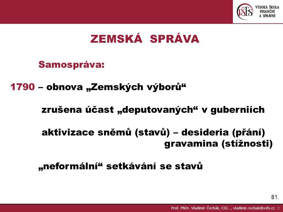 """ZEMSKÁ SPRÁVA Samospráva: 1790 – obnova """"Zemských výborů"""