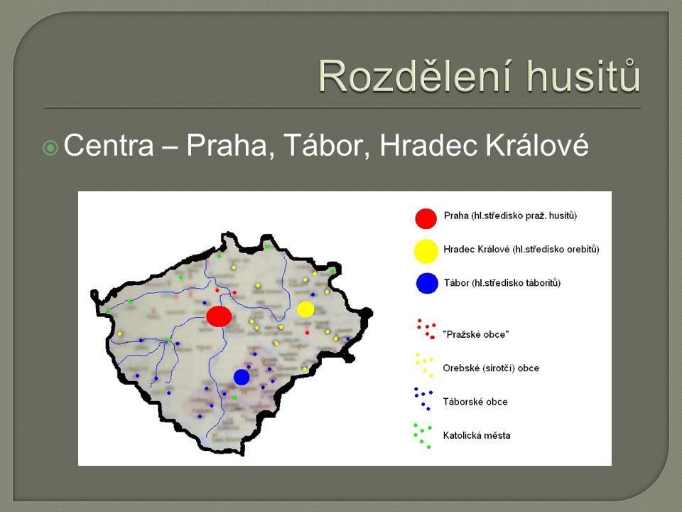 Rozdělení husitů Centra – Praha, Tábor, Hradec Králové