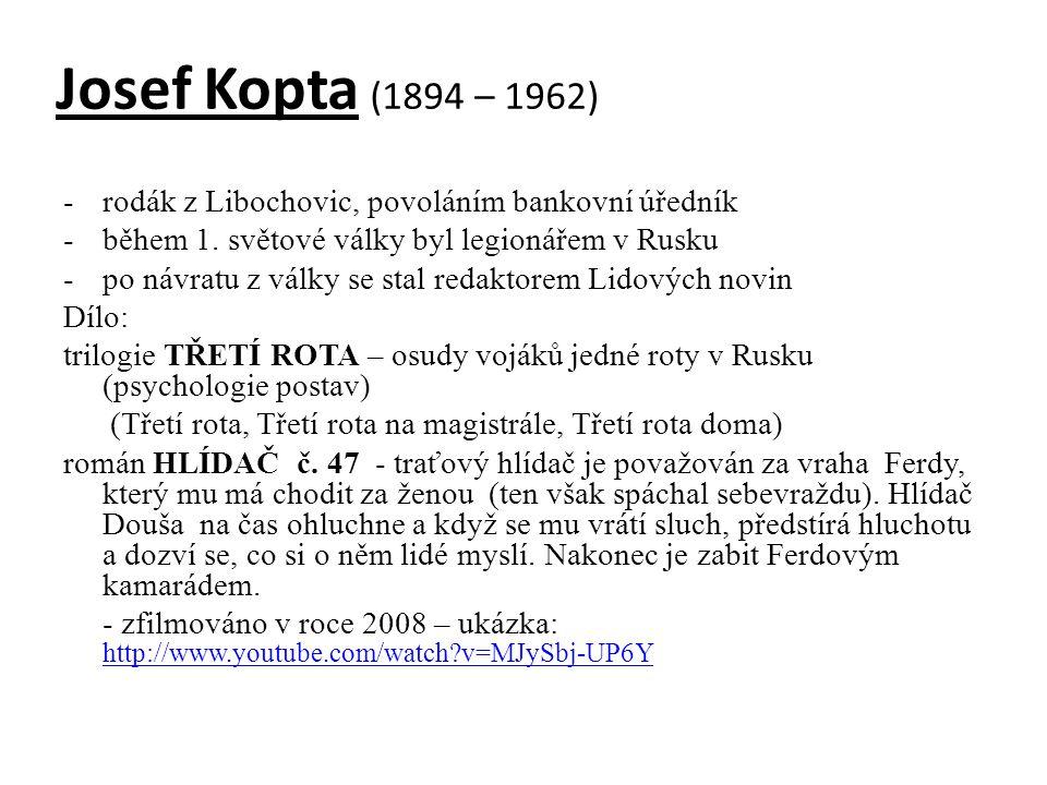 Josef Kopta (1894 – 1962) rodák z Libochovic, povoláním bankovní úředník. během 1. světové války byl legionářem v Rusku.