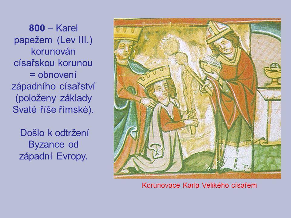 800 – Karel papežem (Lev III.) korunován císařskou korunou