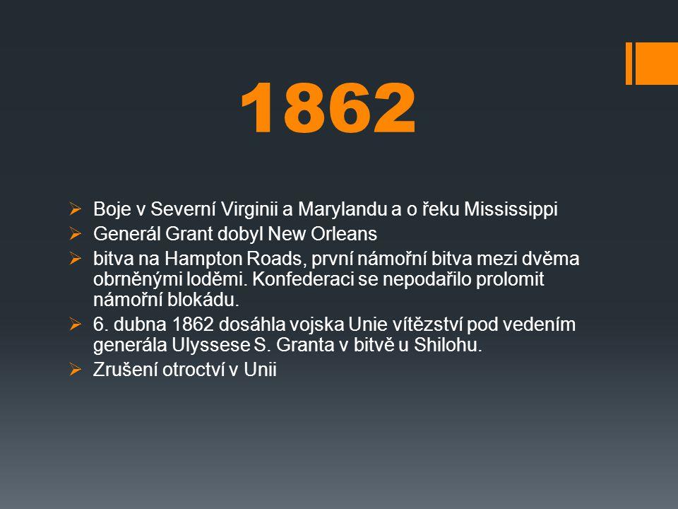 1862 Boje v Severní Virginii a Marylandu a o řeku Mississippi