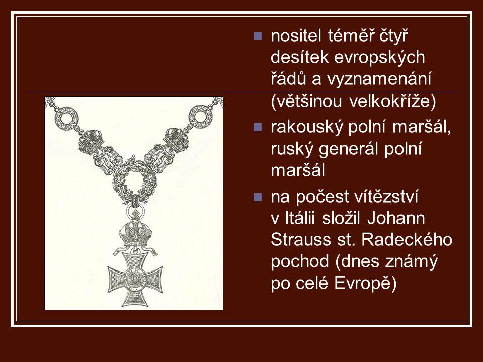 nositel téměř čtyř desítek evropských řádů a vyznamenání (většinou velkokříže)