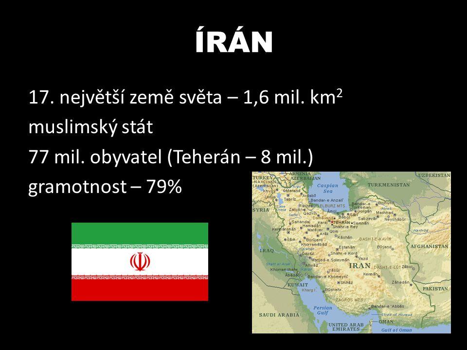ÍRÁN 17. největší země světa – 1,6 mil. km2 muslimský stát 77 mil.