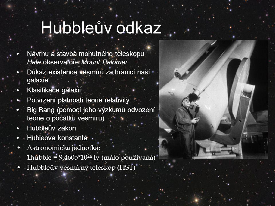 Hubbleův odkaz Návrhu a stavba mohutného teleskopu Hale observatoře Mount Palomar. Důkaz existence vesmíru za hranicí naší galaxie.