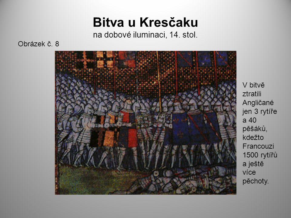 Bitva u Kresčaku na dobové iluminaci, 14. stol.