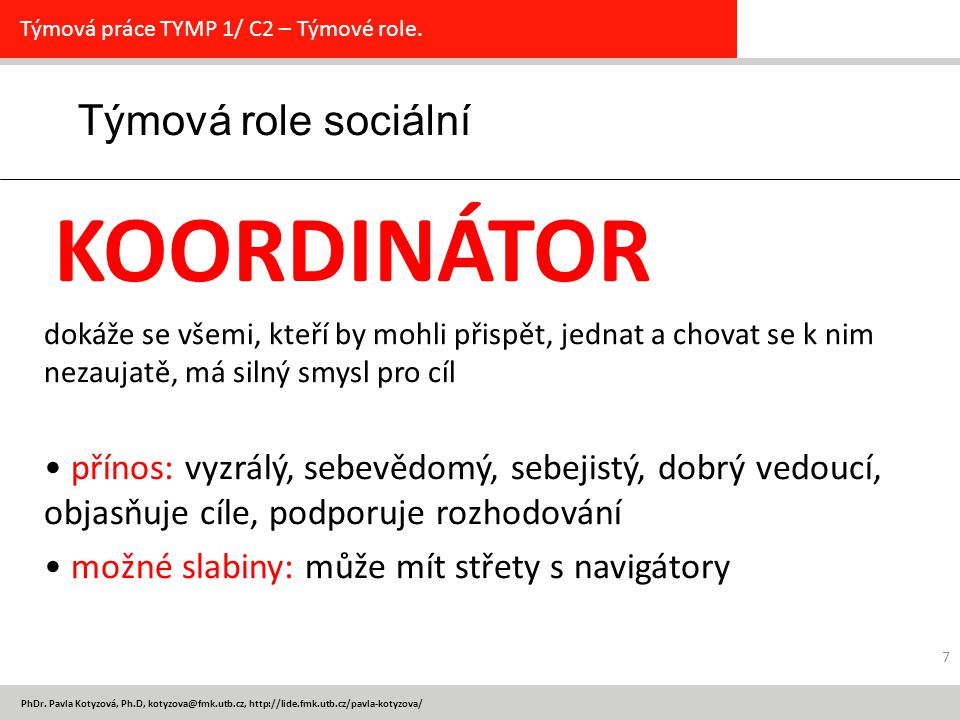 Týmová role sociální KOORDINÁTOR