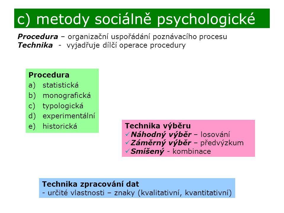 c) metody sociálně psychologické