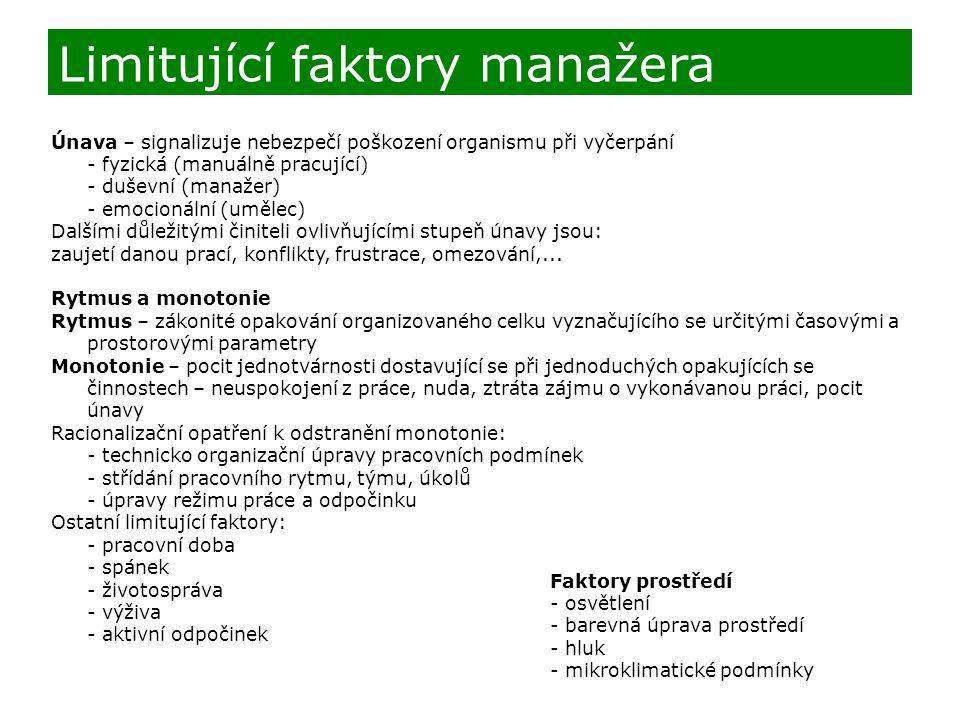 Limitující faktory manažera
