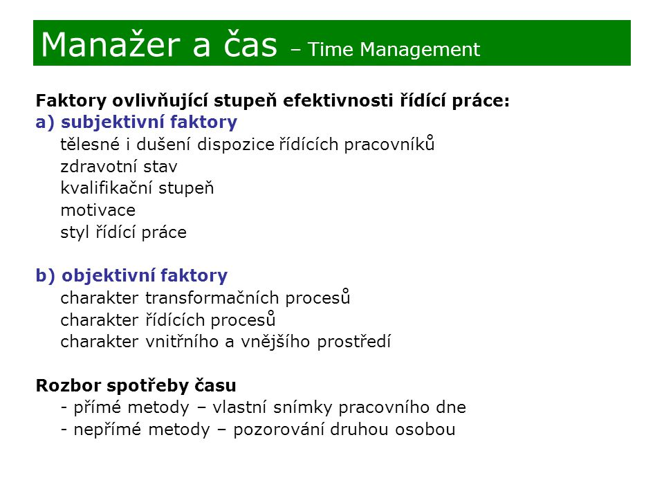 Manažer a čas – Time Management
