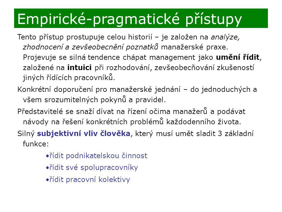 Empirické-pragmatické přístupy
