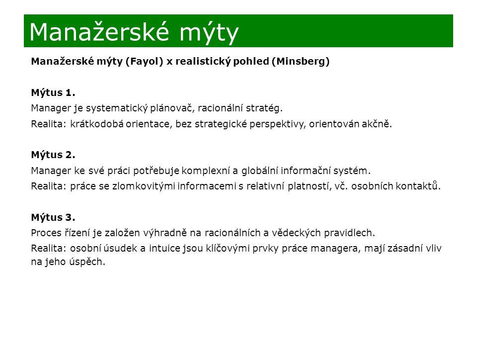 Manažerské mýty Manažerské mýty (Fayol) x realistický pohled (Minsberg) Mýtus 1. Manager je systematický plánovač, racionální stratég.