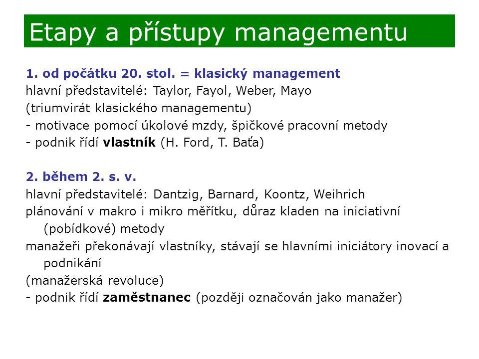 Etapy a přístupy managementu