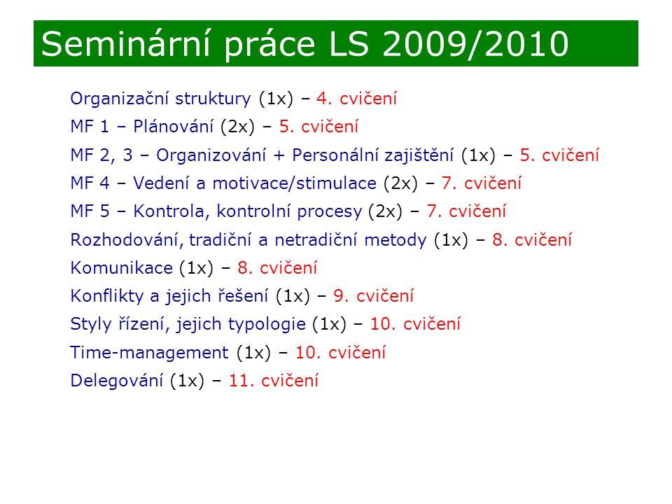 Seminární práce LS 2009/2010 Organizační struktury (1x) – 4. cvičení