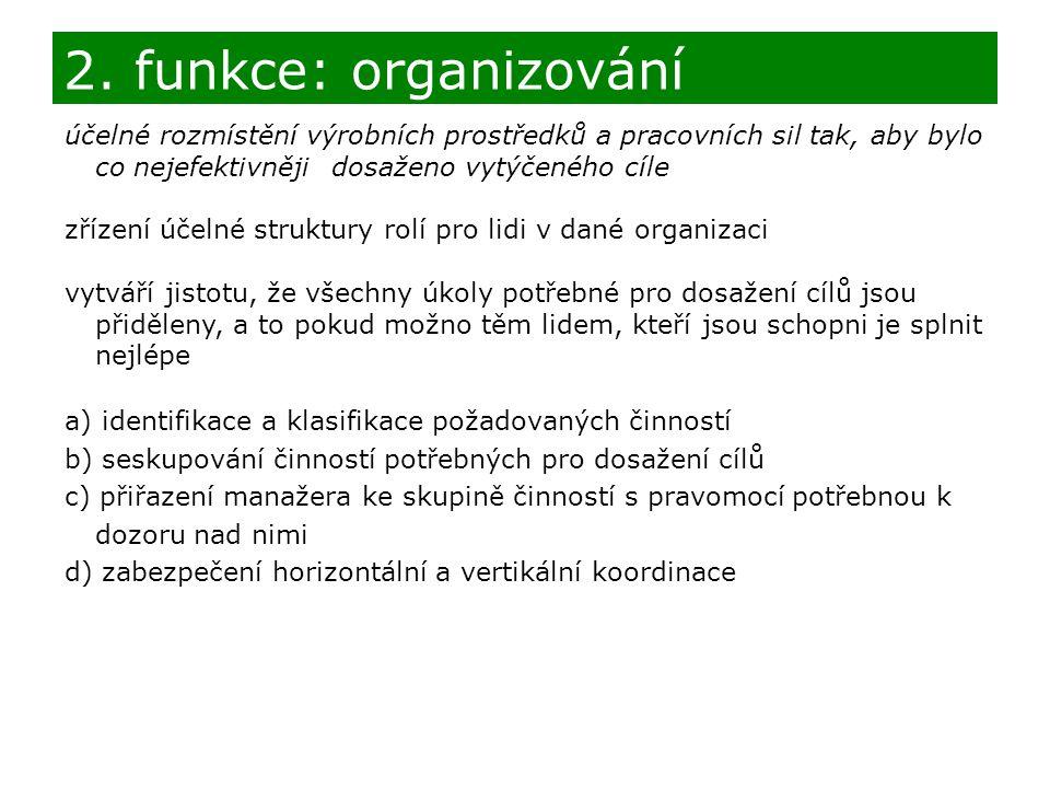2. funkce: organizování účelné rozmístění výrobních prostředků a pracovních sil tak, aby bylo co nejefektivněji dosaženo vytýčeného cíle.