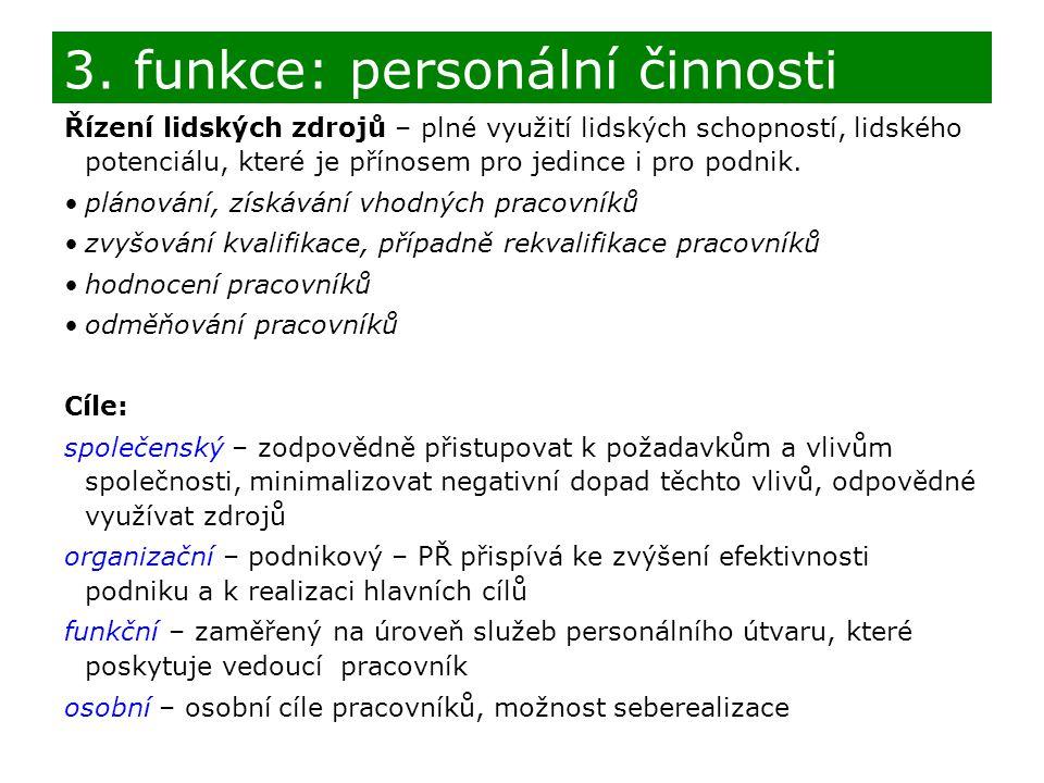 3. funkce: personální činnosti