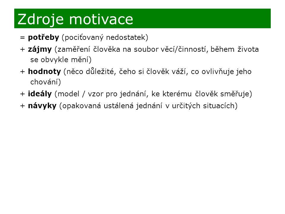 Zdroje motivace = potřeby (pociťovaný nedostatek)
