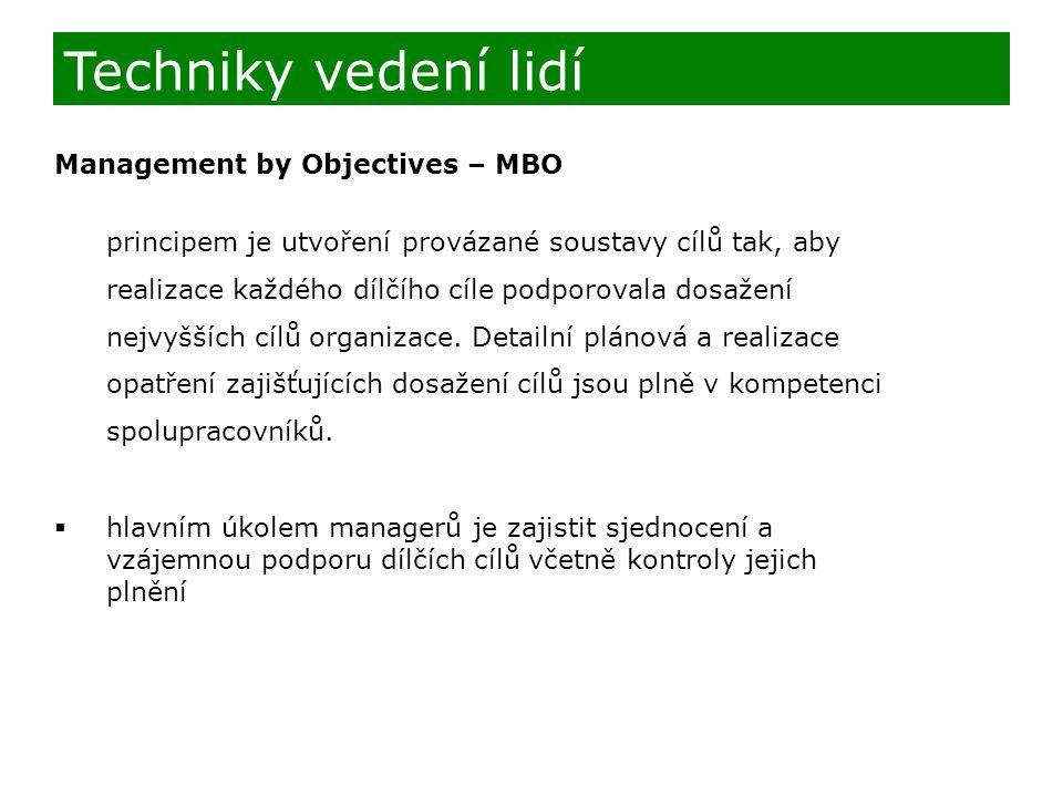 Techniky vedení lidí Management by Objectives – MBO
