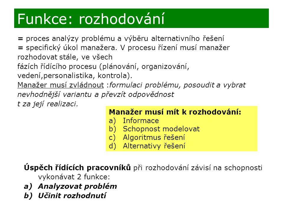 Funkce: rozhodování = proces analýzy problému a výběru alternativního řešení.