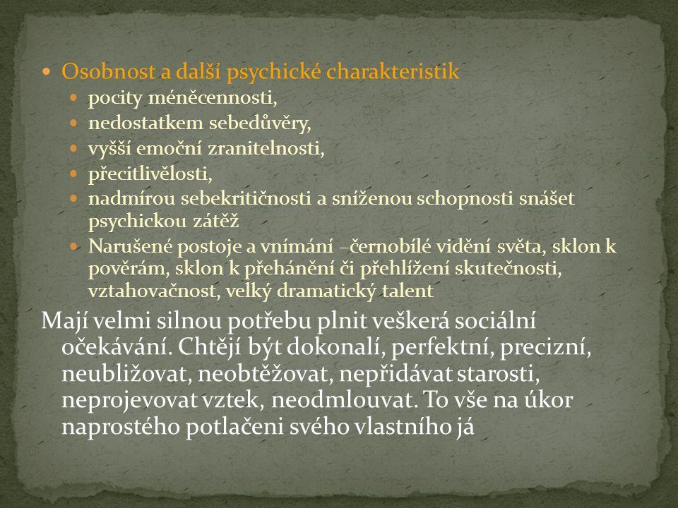 Osobnost a další psychické charakteristik