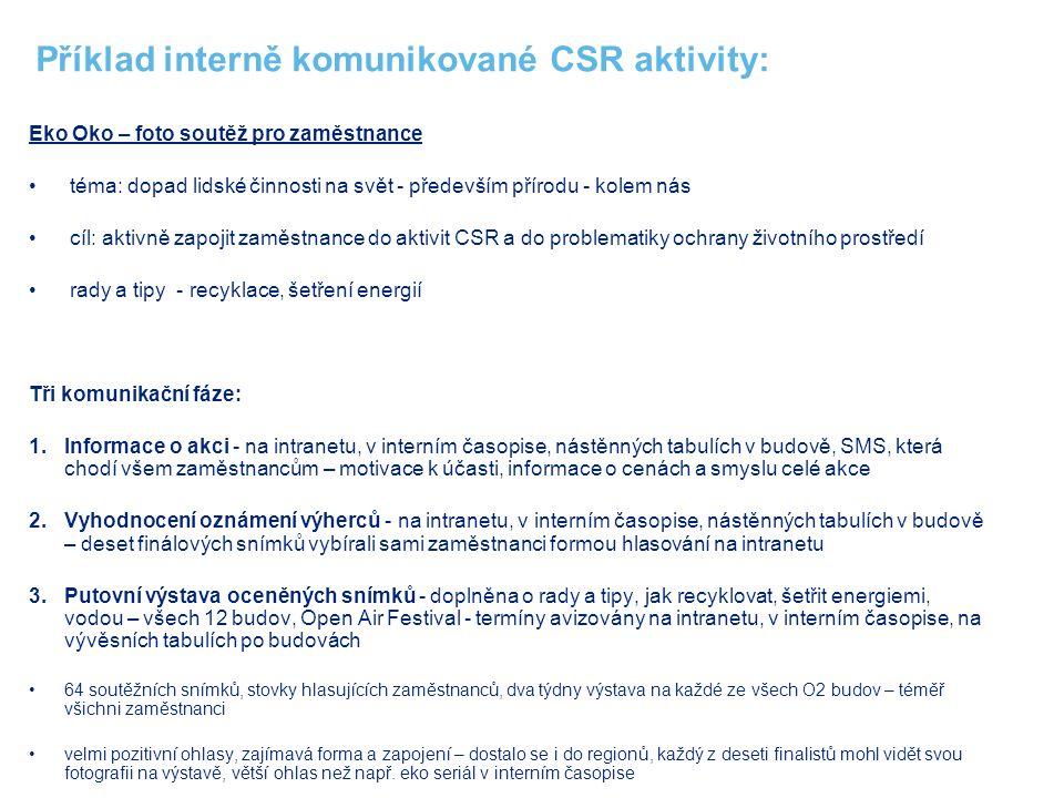 Příklad interně komunikované CSR aktivity: