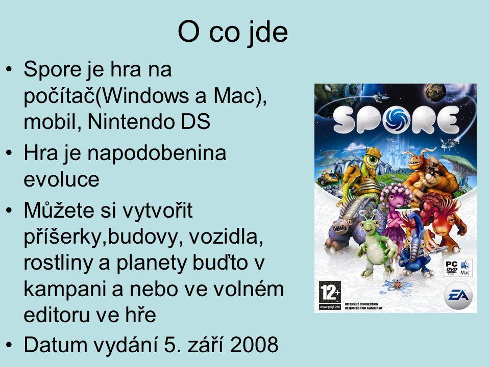 O co jde Spore je hra na počítač(Windows a Mac), mobil, Nintendo DS