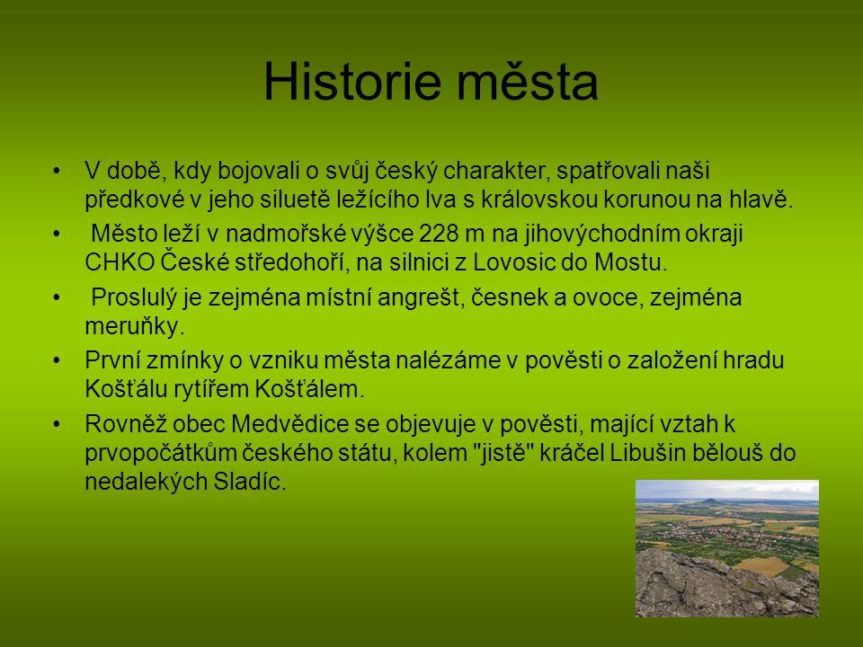 Historie města V době, kdy bojovali o svůj český charakter, spatřovali naši předkové v jeho siluetě ležícího lva s královskou korunou na hlavě.