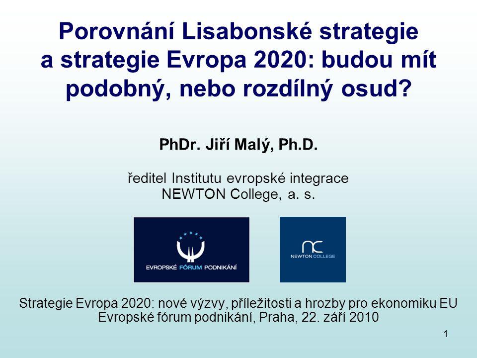 Porovnání Lisabonské strategie a strategie Evropa 2020: budou mít podobný, nebo rozdílný osud